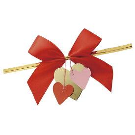 リボン付ワイヤータイ ハートモチーフ付 レッド 10本バレンタイン ラッピング・包装