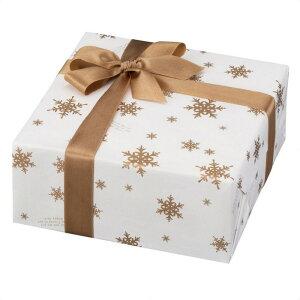 スノーフレーク 包装紙金のスノーフレークのプリントが高級感をアップ!クリスマス 包装紙 おしゃれ ラッピング ギフト