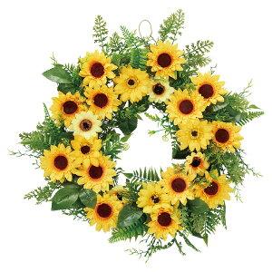 ひまわりリースひも付きなので壁に吊るして簡単に飾れます。小さな向日葵の花がたくさん付いたおしゃれなリースです。リース 造花 おしゃれ ひまわり ヒマワリ インテリア フラワーアレ