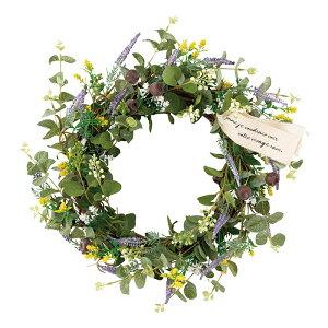 グリーンリース グリーン 直径37cm夏の爽やかな店内装飾にぴったりのグリーンリースです。人工素材でお手入れ不要!壁に吊るして簡単に飾れます。リース 造花 おしゃれ 玄関 夏 春