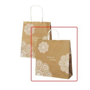 手提紙袋 レースィ 白 32×11×33cm 50枚シンプルでかわいいレース柄と「幸せの約束」という意味のフランス語がプリントされています。紙袋 袋 おしゃれ 業務用 手提げ ラッピング ギフト 白