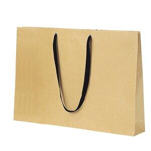 ショルダー型手提げ袋 ベージュ 黒紐 60×42cm 10枚お手頃な価格と使いやすいカラーが、大好評のショルダーバッグです。木の色に近い漂白されていないクラフト紙を使用。紙袋 袋 おしゃれ