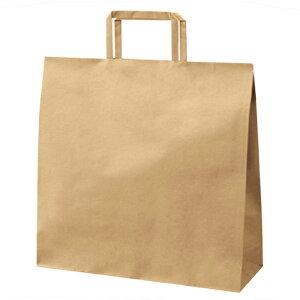 クラフト手提げ紙袋 平ひも ローコストタイプ 茶無地 32×11.5×32cm 50枚究極プライス!! 大人気の平ひもタイプをお求めやすい価格で。紙袋 袋 業務用 手提げ ラッピング 茶色 クラフト