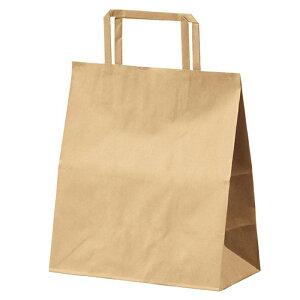 クラフト手提げ紙袋 平ひも ローコストタイプ 茶無地 26×10×24cm 50枚究極プライス!! 大人気の平ひもタイプをお求めやすい価格で。紙袋 袋 業務用 手提げ ラッピング 茶色 クラフト
