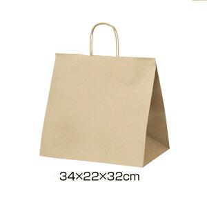 クラフト手提げ紙袋 丸ひも ローコストタイプ 茶無地 34×22×32cm 50枚サイズも豊富にご用意! よく使われるサイズをお求めやすい価格で。紙袋 袋 業務用 手提げ ラッピング 茶色 クラフト
