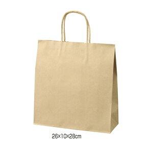 クラフト手提げ紙袋 丸ひも ローコストタイプ 茶無地 26×10×28cm 50枚サイズも豊富にご用意! よく使われるサイズをお求めやすい価格で。紙袋 袋 業務用 手提げ ラッピング 茶色 クラフト
