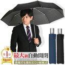 楽天1位 折りたたみ傘 自動開閉 傘 メンズ 大きい ワンタッチ 65cm ブラック/ネイビー