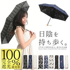 【クーポン利用で100円OFF】日傘 完全遮光 折りたたみ UVカット率99%以上 レディース