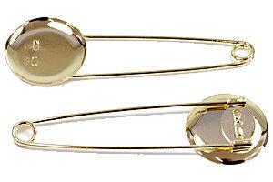 アクセサリーパーツ 金具 ストールピン ブローチピン お皿大きめ25mm ピン70mm 金色 ゴールドカラー 1コ入り