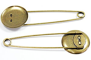 アクセサリーパーツ 金具 ストールピン ブローチピン お皿大きめ25mm ピン70mm 金古美 アンティークゴールド 1コ入り