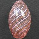 ベネチアンビーズ ブロウガラス(吹きガラス) オーバル34〜40mm・ピンクストライプ(BS108)