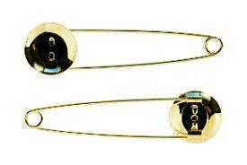 アクセサリーパーツ 金具 ストールピン ブローチピン お皿20mm ピン70mm 金色 ゴールドカラー 10コ入りサービスパック