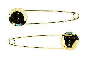 アクセサリーパーツ 金具 ストールピン ブローチピン お皿20mm ピン70mm 金色 ゴールドカラー 2コ入り