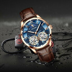 ダブルトゥールビヨン ムーンフェイズ AILANG 機械式 自動巻き 腕時計 メンズ スケルトン 1年保証 レザーベルト