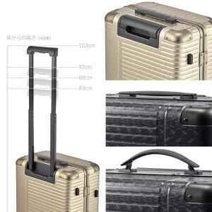 機内持込アルミスーツケースフレームLANGER【ミリオンチップス】ダブルキャスター