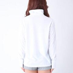 フィラパーカー吸水速乾レディース長袖白色シンプル無地UVカット