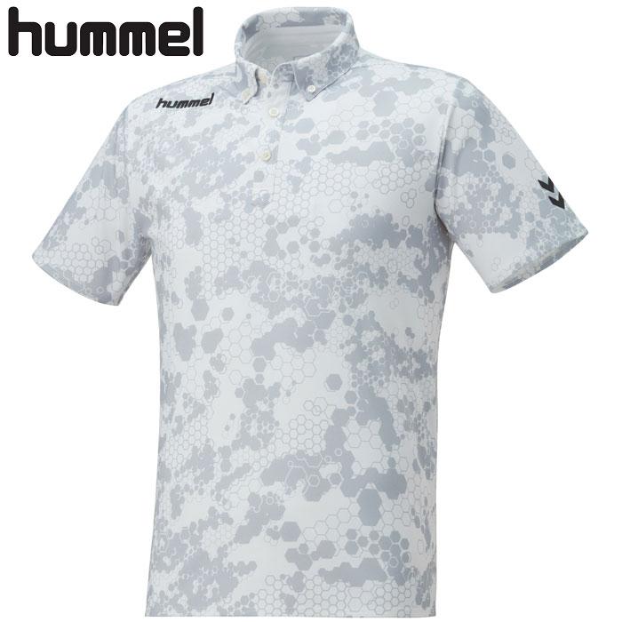ヒュンメル ポロシャツ ボタンダウン hummel HAP3045 半袖 カジュアル ゴルフ メンズ 白 ホワイト
