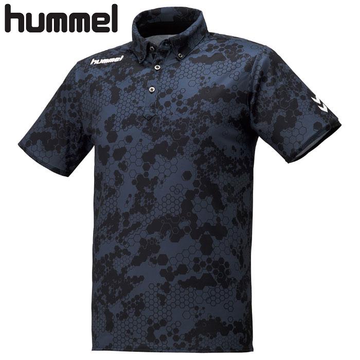 hummel ポロシャツ HAP3045 半袖 ヒュンメル ボタンダウン カジュアル インディゴ ネイビー メンズ