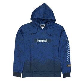 hummel ボックスロゴ HAPB8014 パーカー バスケット スウェット ネイビー フーデット トレーニング
