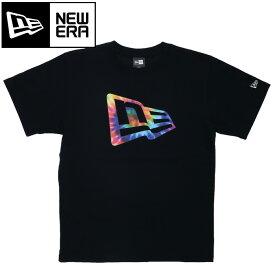 ニューエラ ロゴT パフォーマンス Tシャツ カラータイダイ フラッグ ブラック 半袖 11901336
