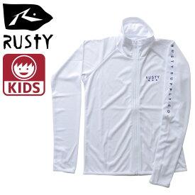 RUSTY 子供用 ラッシュガード 白色 ラッシュ フード無し ラスティー 969470 無地 ホワイト