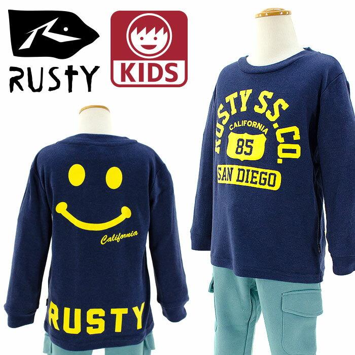 【セール】 ロンT キッズ ラスティ 子供服 長袖Tシャツ Rusty ニコちゃんTシャツ 男の子 女の子 976050