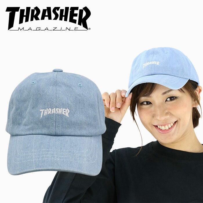 スラッシャー ローキャップ ライトデニム 6パネルキャップ THRASHER ロゴ刺繍キャップ CAP 16TH-C25 帽子