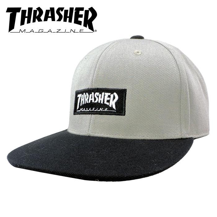 スラッシャー ボックスロゴ スナップバックキャップ ロゴキャップ グレー THRASHER MAGAZINE LOGO 帽子