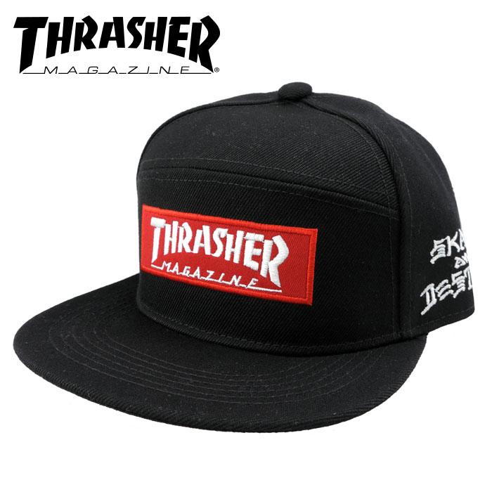 THRASHER スラッシャー ジェットキャップ ボックスロゴ 黒 スナップバック CAP 帽子 キャップ