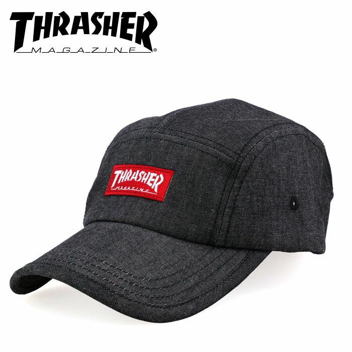 スラッシャー マグロゴキャップ THRASHER スナップバック 18TH-C25 ブラック デニム調 ロゴ刺繍 キャップ