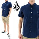 ボルコム オックスフォードシャツ メンズ半袖シャツ ボタンダウンシャツ シンプル ワンポイント VOLCOM