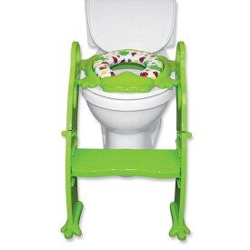 【Karibu】カリブ★ 補助便座 PM2697 ステップ付 トイレトレーナー クッション付 【 グリーン 】