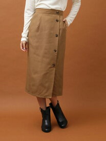 【Green Parks】サイドボタンタイトスカート | グリーンパークス チェック キャメル ブラック