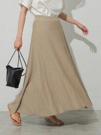【 送料無料 】【AMERICAN HOLIC】ニットプリーツスカート エレガント ゴム ニット フレア 生地 綺麗 雰囲気 シルエット 女性 仕様 安心 着心地 魅力 シーン