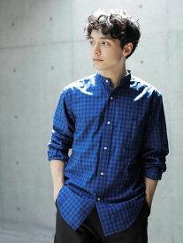 【 送料無料 】【koe】e インディゴチェックバンドカラーシャツ メンズ コエ 春夏 夏 2020 人気