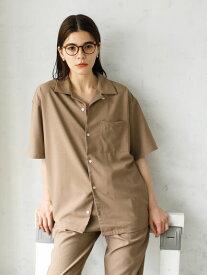 【 送料無料 】【koe】ドライタッチポリトロ半袖オープンカラーシャツ ブラック ベージュ 半袖