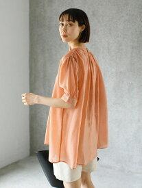【 送料無料 】【koe】ベルト付き5分袖ギャザーチュニックブラウス ベルト チュニック オレンジ SS KOE 布帛 バスト 着丈 袖丈 肩幅 再生繊維