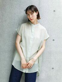 【 送料無料 】【koe】シアーフレンチスリーブバンドカラーシャツチュニック