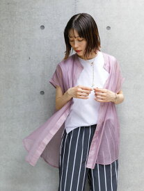 【 送料無料 】【koe】シアーフレンチスリーブバンドカラーシャツチュニック レディース コエ 春夏 夏 2021