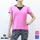 8月発売新作【RM1345A】ROLAMOCAローラモサメッシュ切り替えしTシャツBLUEPINKSサイズMサイズ海外labodyフィットネスウェアzumbaウェアレディース