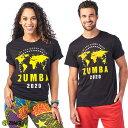 1月発売新作 正規品【ZU0255】 ZUMBA ズンバ ユニセックス ワールドマップ Tシャツ BLACK XS/Sサイズ M/Lサイズ 海外 フィットネスウェア ズンバウェア la body レデ