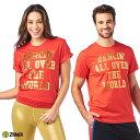 1月発売新作 正規品【ZU0258】 ZUMBA ズンバ ユニセックス フォイルプリント Tシャツ RED XS/Sサイズ M/Lサイズ 海外 フィットネスウェア ズンバウェア la body レディ