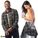 1月発売新作 正規品【ZU1980】 ZUMBA ズンバ ユニセックス メタリックロゴ ボタンダウン チェックシャツ GREEN XSサイズ Sサイズ Mサイズ 海外 フィットネスウェア ズンバウェア