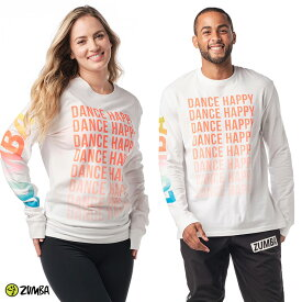 ZUMBA ズンバ 正規品 ユニセックス DANCE HAPPY グラデーション ロゴ ロングスリーブ WHITE XSサイズ Sサイズ Mサイズ Lサイズ