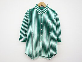 PEARLY GATES パーリーゲイツ ストライプ 五分袖シャツ グリーン×ホワイト 0【中古】