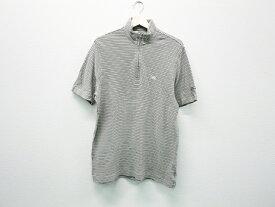 BURBERRY GOLF バーバリーゴルフ ハーフジップ半袖Tシャツ ボーダー グレー系 L 【中古】ゴルフウェア メンズ
