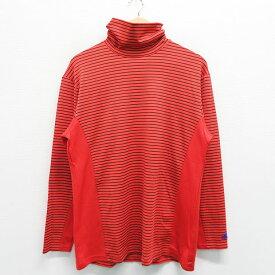 UNDER ARMOUR アンダーアーマー ハイネック長袖Tシャツ ボーダー オレンジ系 O 【中古】ゴルフウェア メンズ