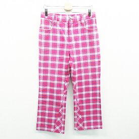 OAKLEY オークリー パンツ チェック スカル刺繍 ピンク系 34 【中古】ゴルフウェア メンズ