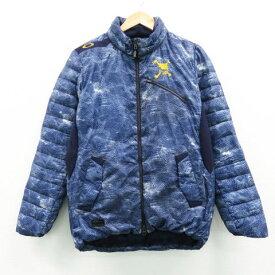 OAKLEY オークリー ダウンジャケット 総柄 ブルー系 M 【中古】ゴルフウェア メンズ
