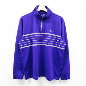 UNDER ARMOUR アンダーアーマー ハーフジップ長袖Tシャツ ボーダー柄 パープル系 L 【中古】ゴルフウェア メンズ